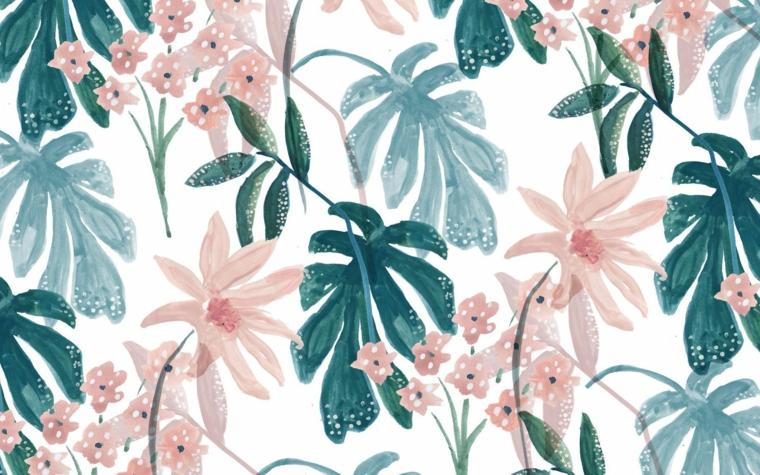 Immagine con disegno di foglie tropicali, sfondo immagine colore bianco, wallpaper per il computer