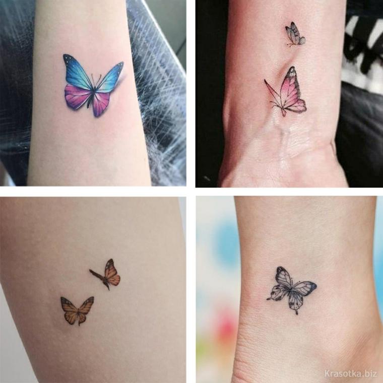 Tatuaggio farfalla, disegno colorato di farfalle, tattoo sul polso della mano