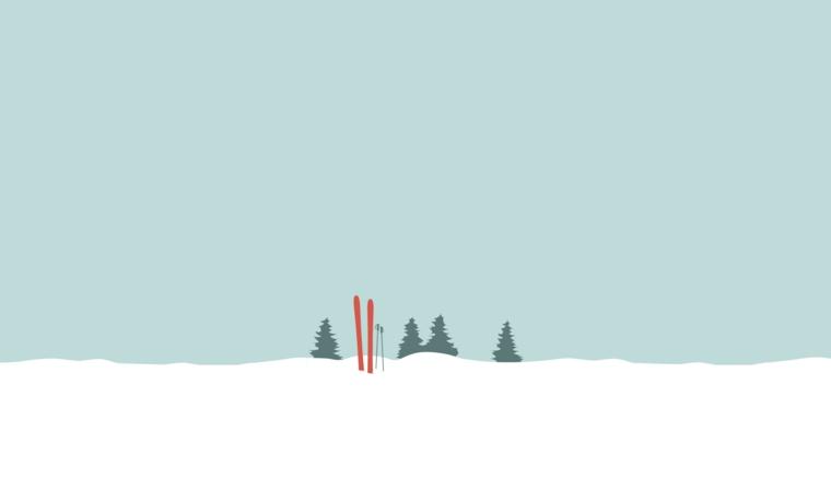 Sfondi per desktop, immagine natalizia con neve e disegno di alberi, sfondo per schermo del computer