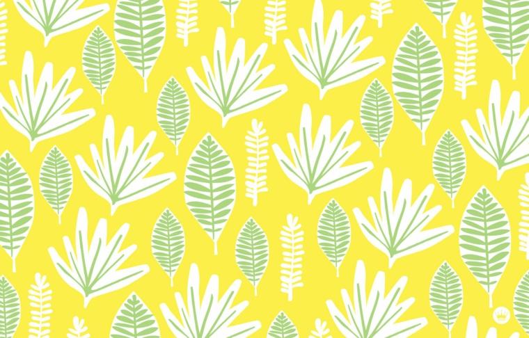 Immagine con disegni di foglie di piante, sfondo immagine colore giallo, sfondo per il desktop del computer