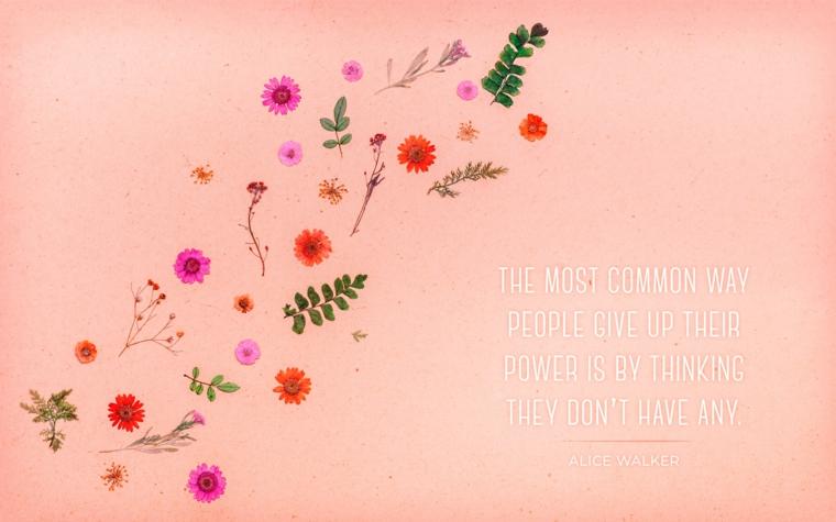 Citazione in inglese, immagine per lo schermo del computer, immagine con disegni di fiori