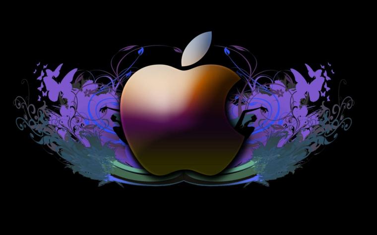 Immagine del logo della Apple, disegno grafico di una mela, immagine per lo screen del pc