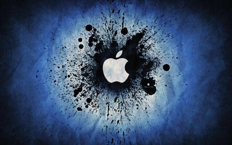 Il logo di apple, disegno grafico di una mela, immagine con sfondo di colore blu