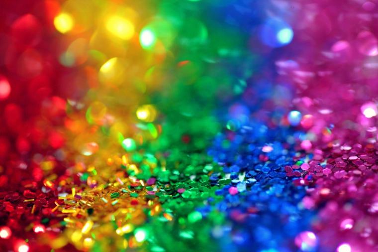 Foto di lustrini colorati, immagine per lo schermo del computer, i colori dell'arcobaleno