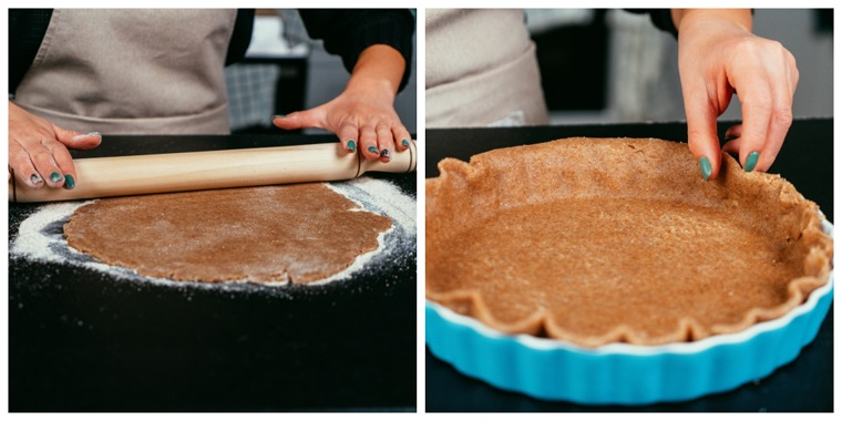 Torta di mele americana, stendere impasto con mattarello, impasto con farina integrale