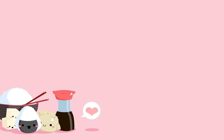 Sfondi per desktop, immagine con sfondo di colore rosa, disegni kawaii per computer