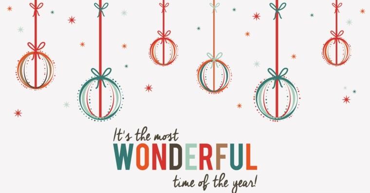 Immagine wallpaper natalizia, disegno di palline di natale con scritta, immagine per desktop laptop