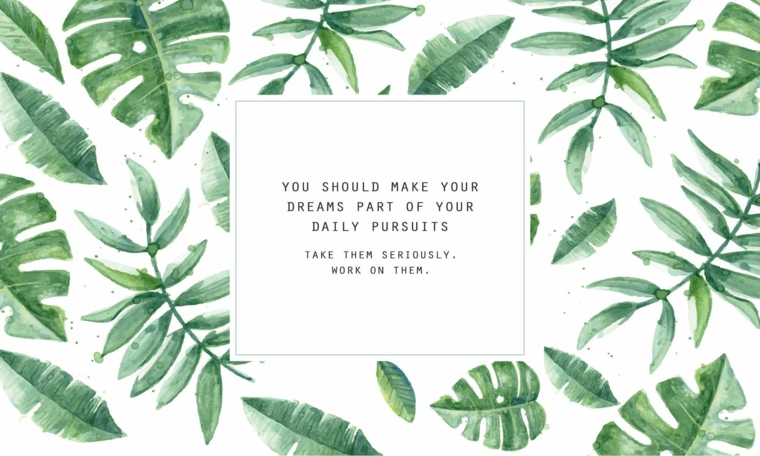Immagine con disegni di foglie tropicali, immagine con scritta, immagine per lo schermo del computer