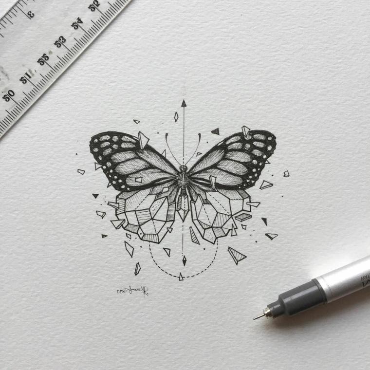 Disegno su un foglio di farfalla, penna nera a sfera, foglio bianco con righello