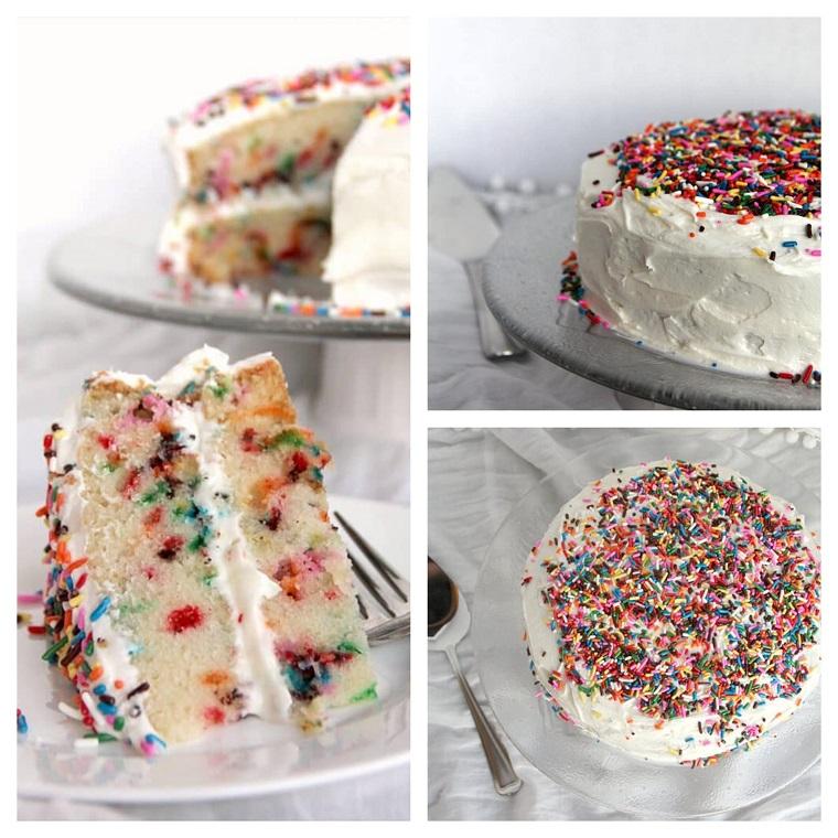 Torta soffice con codette di zucchero colorate, torta compleanno bambini fatta in casa