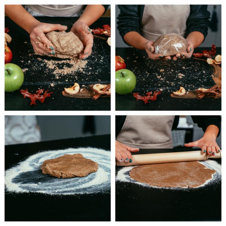 Apple pie ricetta, impasto con farina integrale, stendere impasto con mattarello