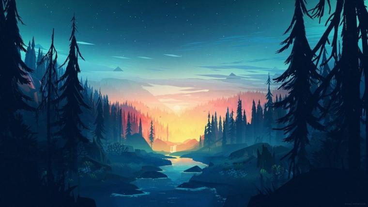 Disegno di un tramonto in montagna, immagine per lo sfondo del computer
