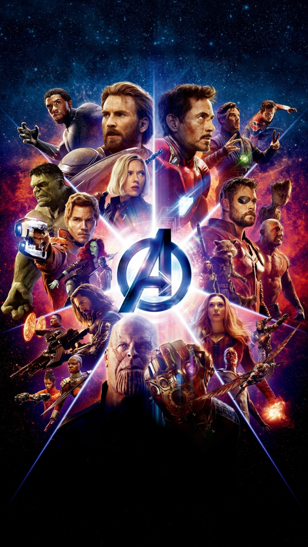 Immagine con gli Avengers del film della Marvel, foto per lo schermo del telefono