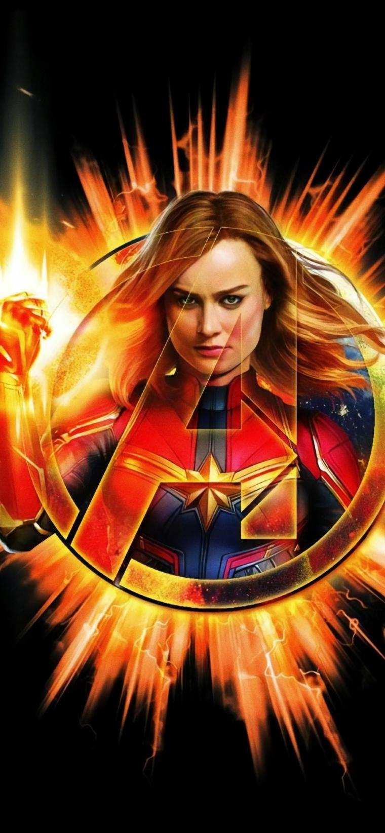 Foto di Capitan Marvel degli Avengers, immagine per lo schermo del telefono