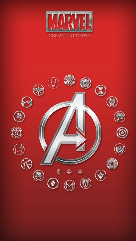 Immagine con sfondo di colore rosso, immagine con il logo degli Avengers di Marvel