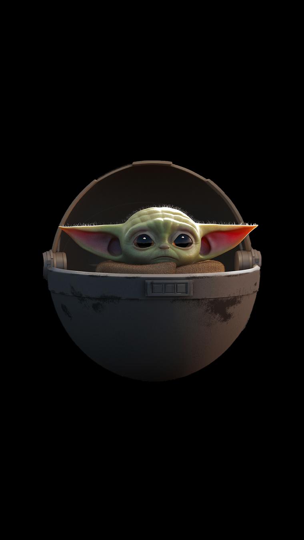 Immagini sfondo cellulare, disegno grafico di baby yoda di Star Wars