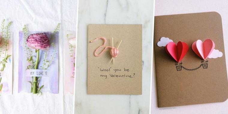Tre idee per cartoline per San Valentino, decorazione con cuori origami e fiore