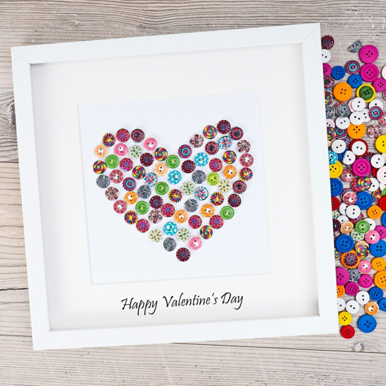 Quadro con bottini a forma di cuore, scritta in inglese per San Valentino