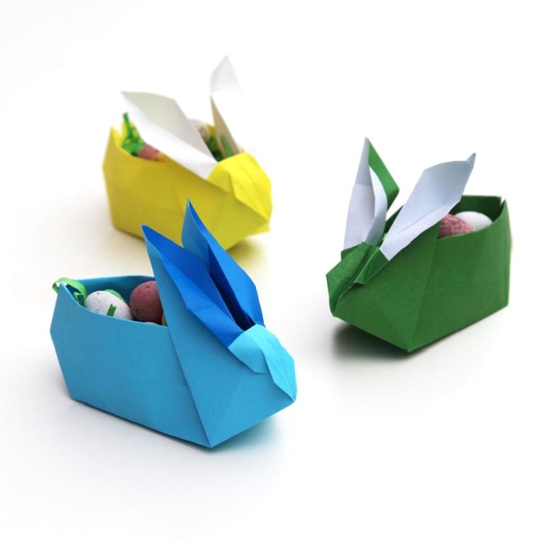 Origami istruzioni, cestino per caramelle forma coniglio origami