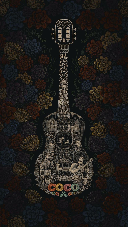 Sfondi schermata home, disegno colorato di una chitarra del cartone Coco