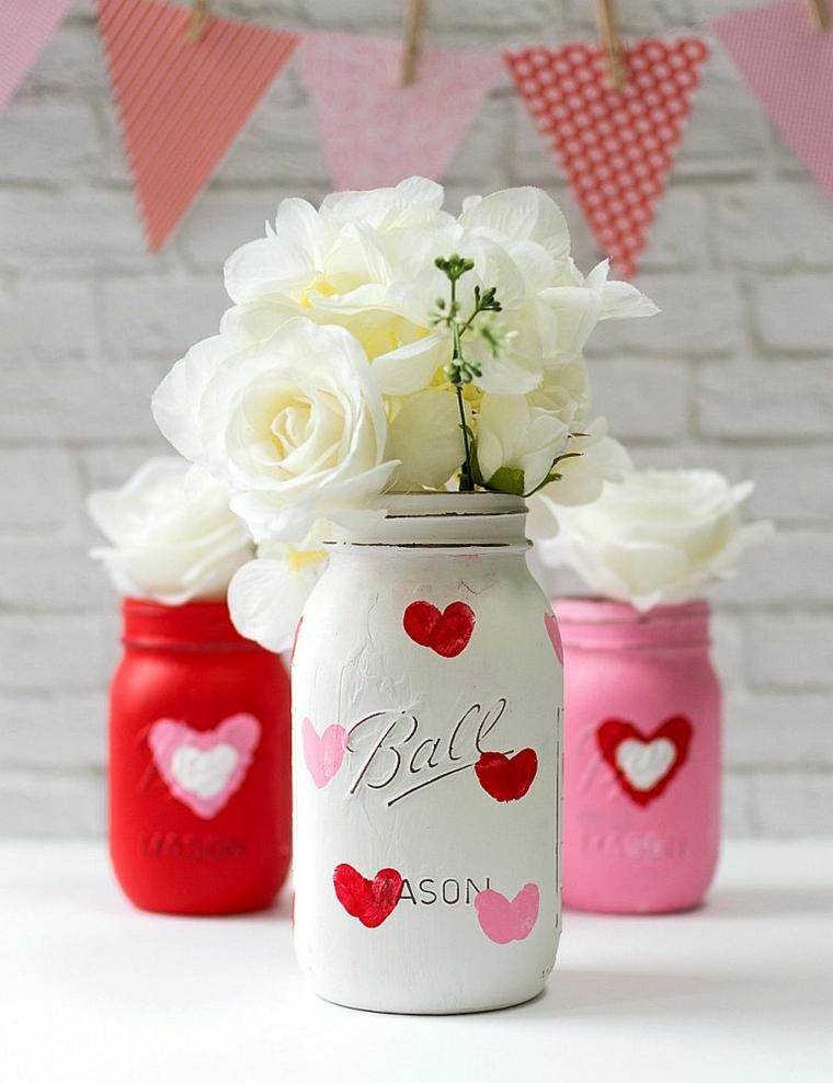 Regali romantici per lei, barattolo di vetro dipinto, vaso con rose bianche