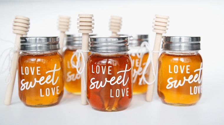 Regali San Valentino per lei, barattoli di miele decorati scritte in inglese