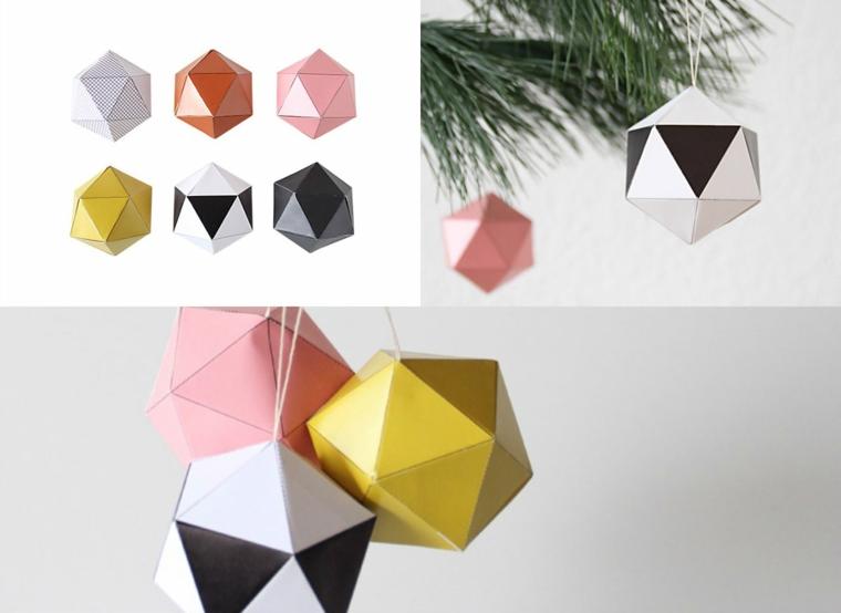 Lavoretti facili, decorazioni per l'albero con palline di carta origami piegata