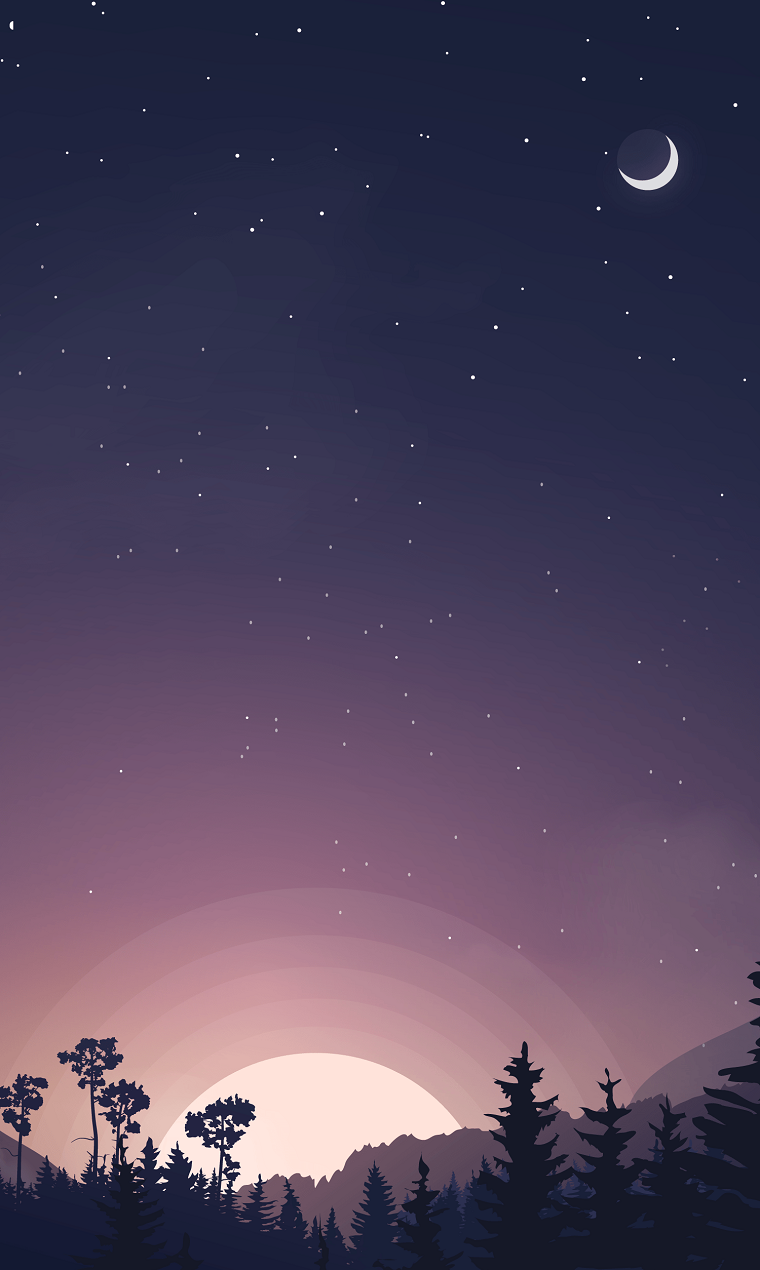 Sfondi schermata home, disegno colorato di un cielo con la luna e le stelle