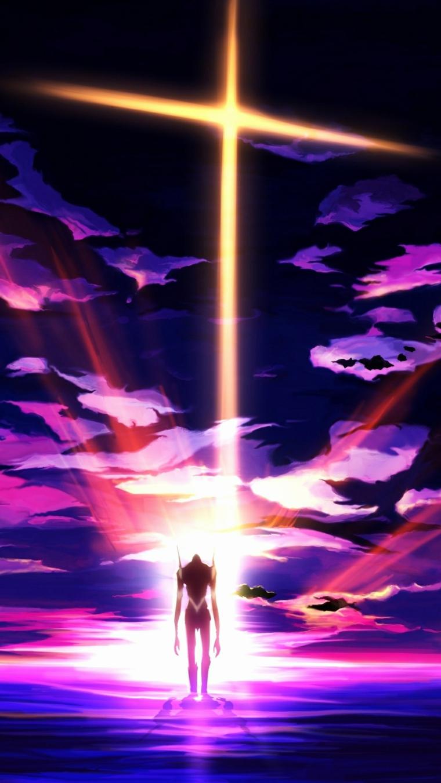 Sfondi schermata home, disegno di Evangelion con nuvole e raggi di luce