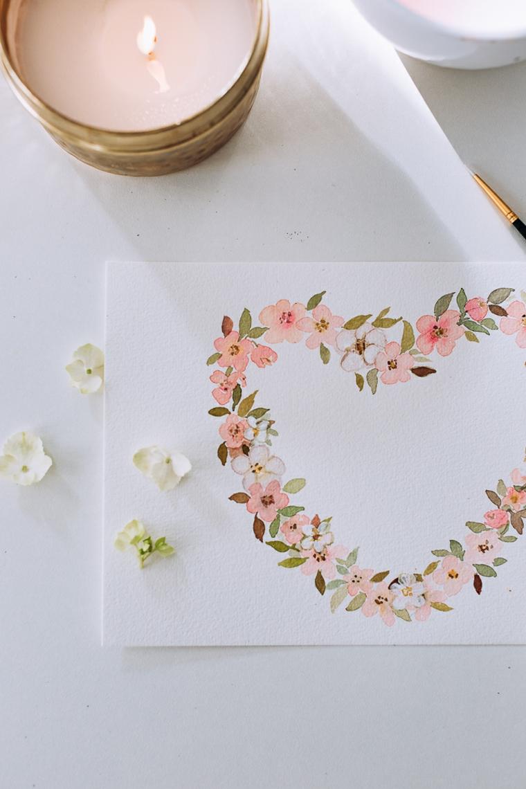 Disegno di fiori a forma di cuore, regali fai da te per San Valentino per lui