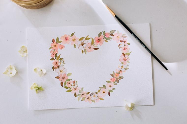 Regali fai da te per San Valentino per lui, disegno di cuore con fiori