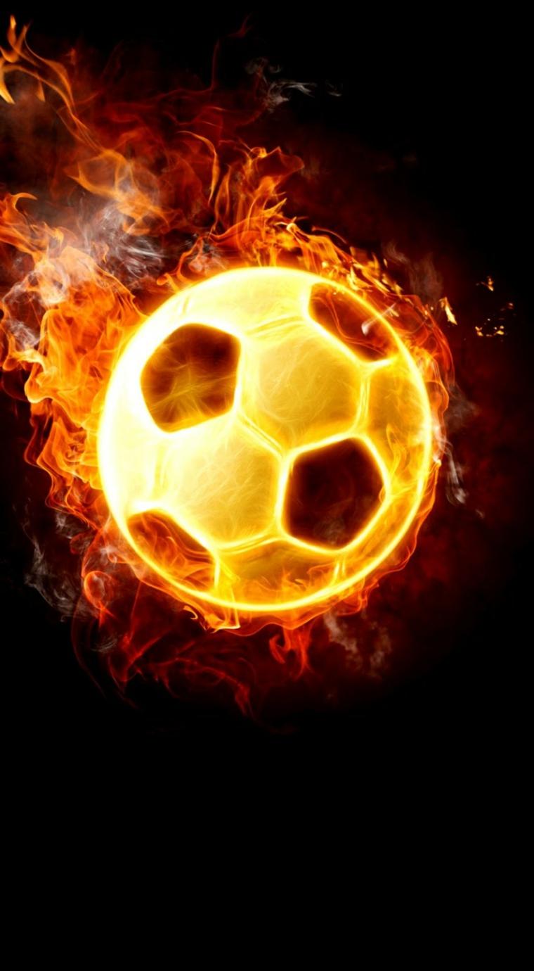 Immagine di una palla da calcio in fiamme, immagine per lo schermo del telefono