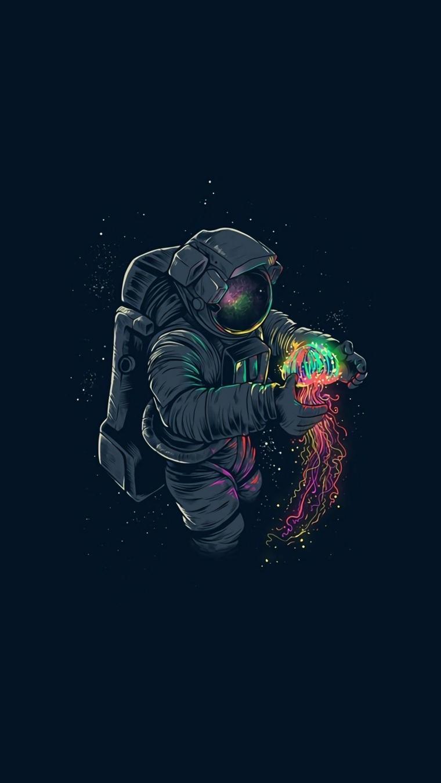 Sfondi per smartphone, disegno colorato di un astronauta con palla colorata in mano