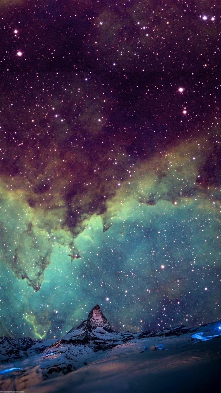 Sfondi per smartphone, cielo con nuvole e stelle di colore nero e azzurro