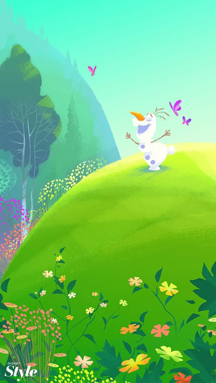 Sfondi per cellulare, disegno di Olaf che gioca su un prato con fiori colorati