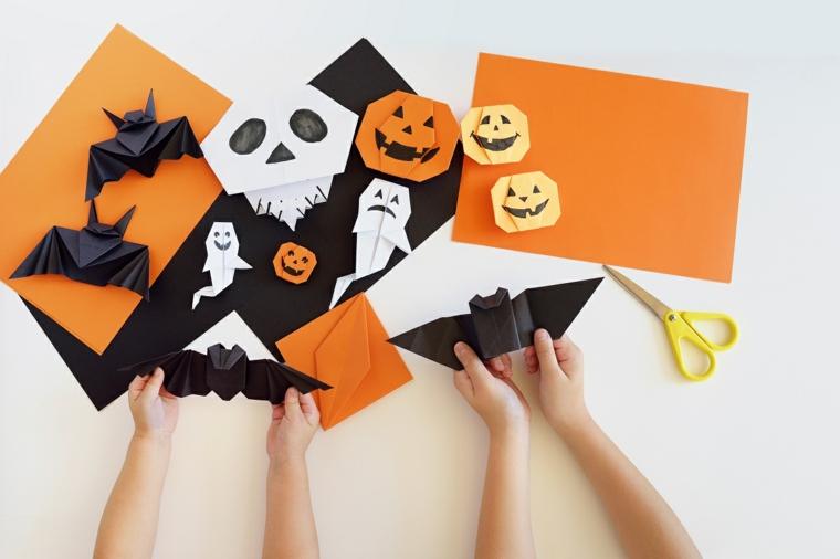 Origami facili per bambini, decorazioni per Halloween con ornamenti di carta origami