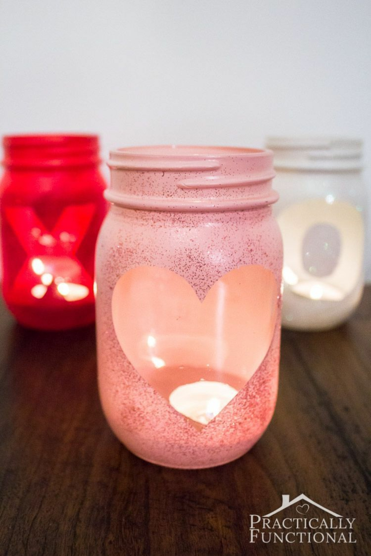 Barattolo di vetro dipinto con candela, regali per lui san valentino fai da te