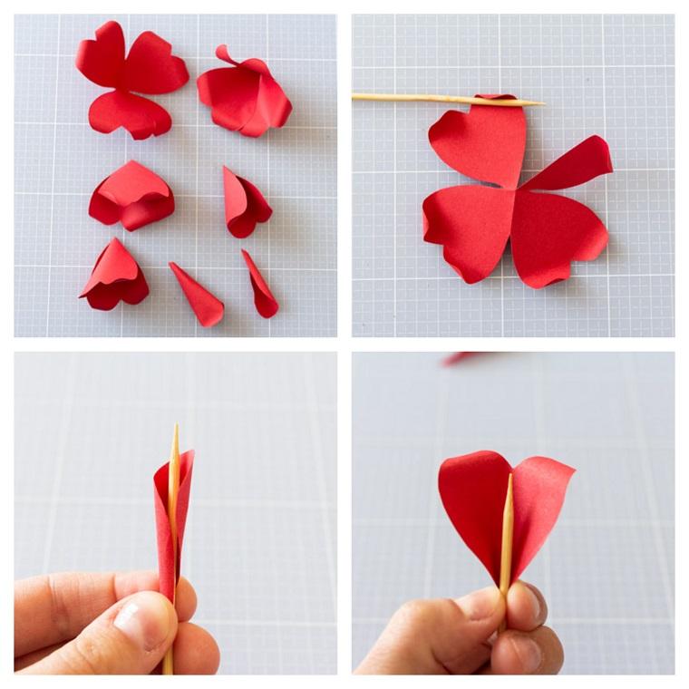 Regali da fare a san valentino, tutorial per fare un fiore di foglio rosso di carta