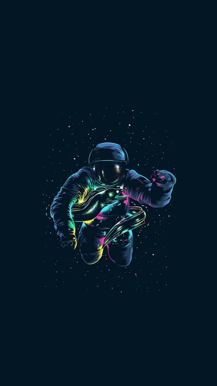 Immagine di un astronauta nella galassia, immagine da scaricare per lo schermo del telefono
