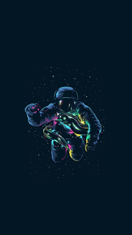 Sfondi per smartphone, disegno colorato di un astronauta con lucine intorno