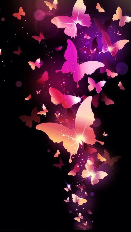Sfondi per cellulari, immagine con disegno di farfalle di colore rosa su sfondo scuro