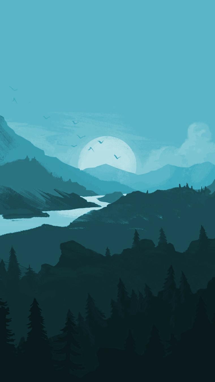 Gli sfondi più belli del mondo, disegno colorato di montagne con la luna piena