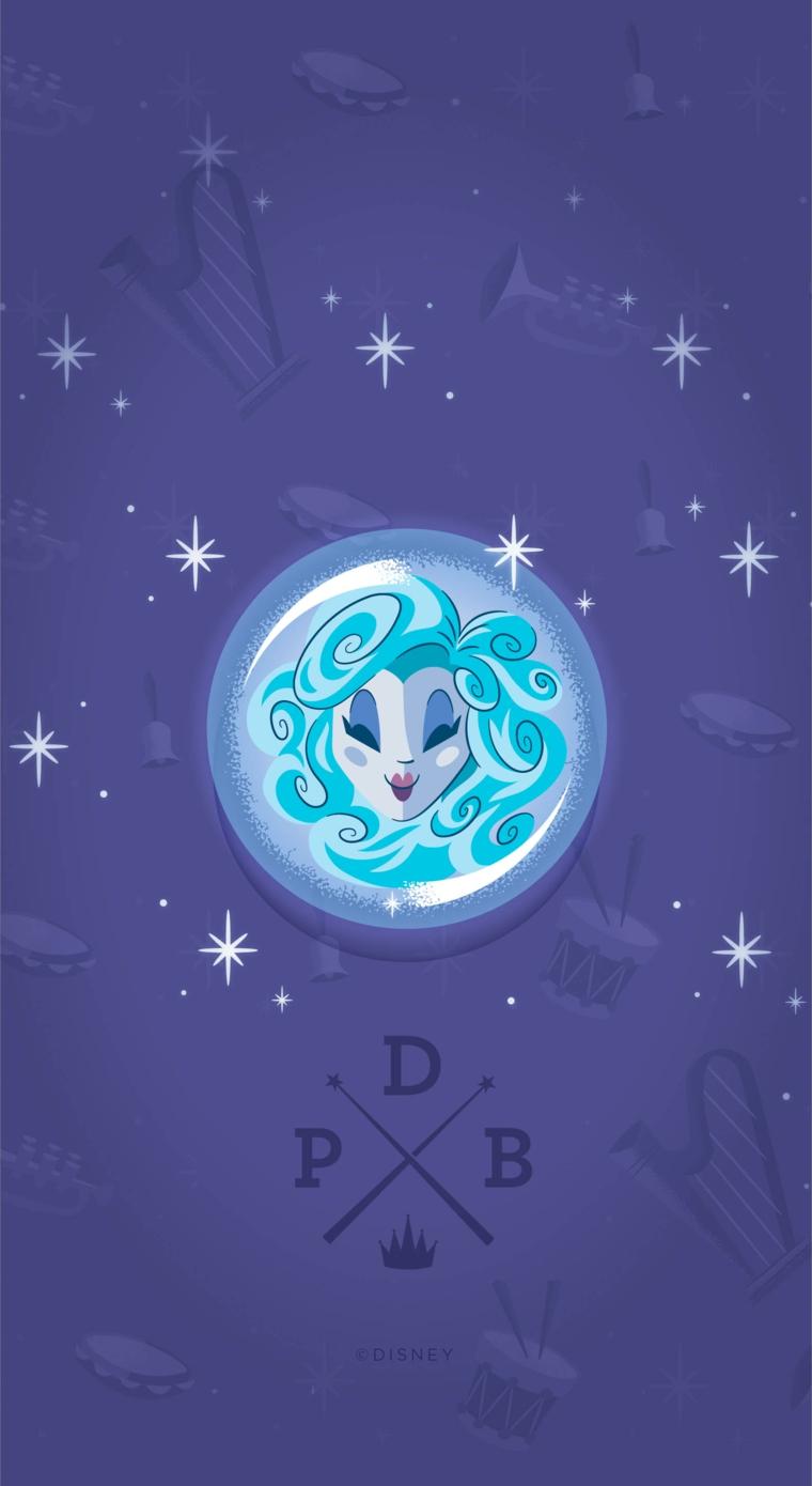 Sfondi schermata home, disegno con sfondo blu e una principessa della Disney