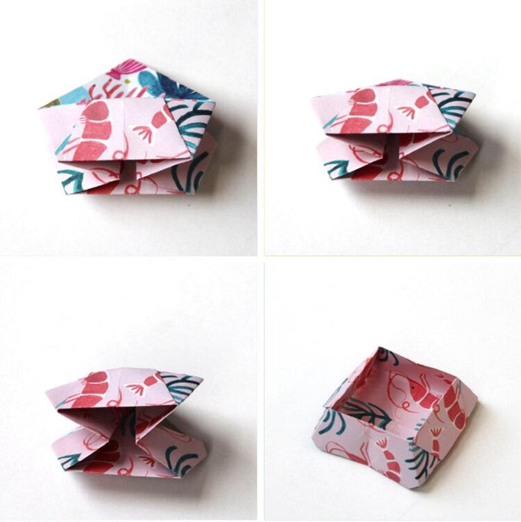 Origami facile, scatoletta di foglio di carta colorata per gli snack
