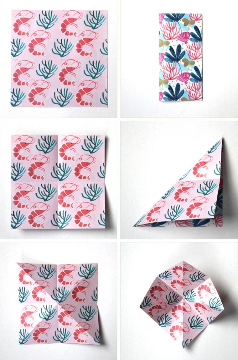 Origami facilissimi, tutorial per piegare della carta colorata con motivi ornamentali