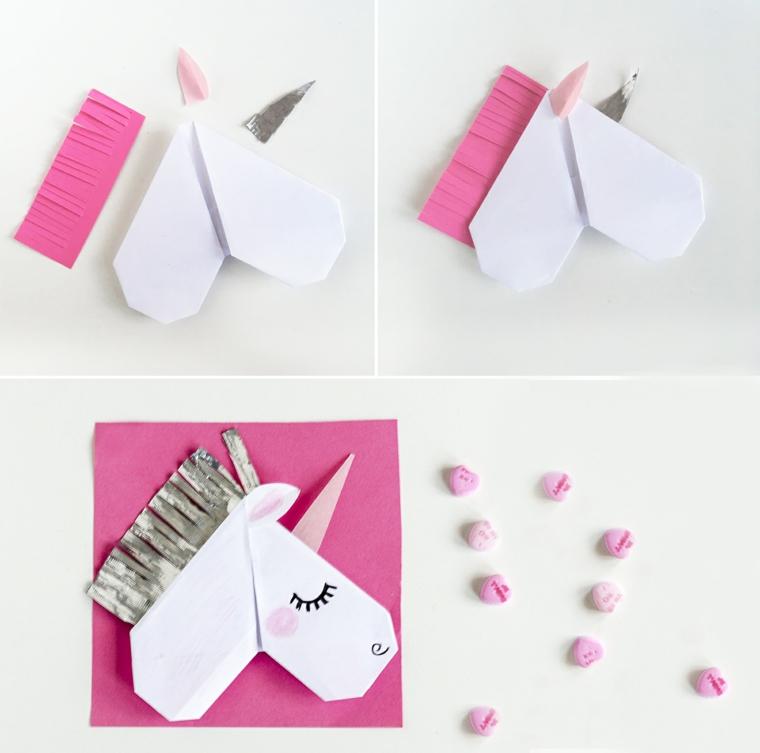 Origami facilissimi, piegare un foglio di carta origami, unicorno di carta con disegno