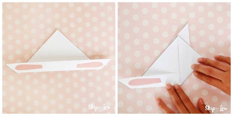 Lavoretti per bambini facili, come piegare la carta per origami coniglio