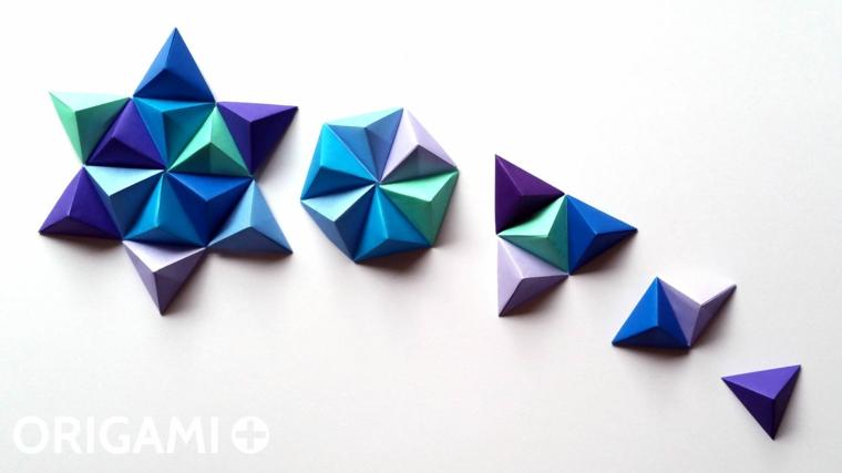 Stella di piramidi di carta, lavoretti di carta facili, fogli di carta blu piegati per origami