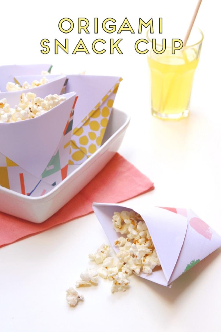 Origami facile, sacchettino di carta per popcorn, carta colorata per origami