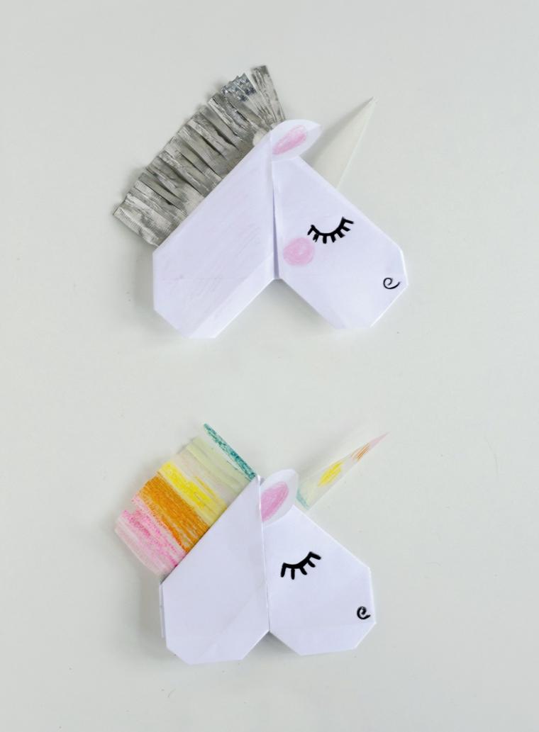Lavoretti per bambini facili, origami unicorno con criniera di frange colorate